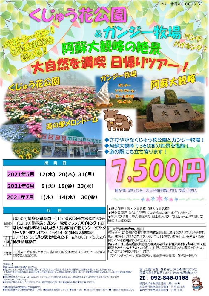 九重花公園 阿蘇大観峰ツアー